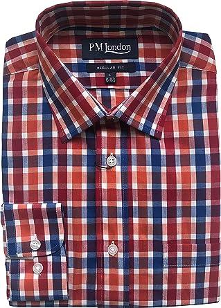 PM London - Camisa de Manga Larga para Hombre (Talla M, L, XL, 2XL), Color Blanco: Amazon.es: Ropa y accesorios