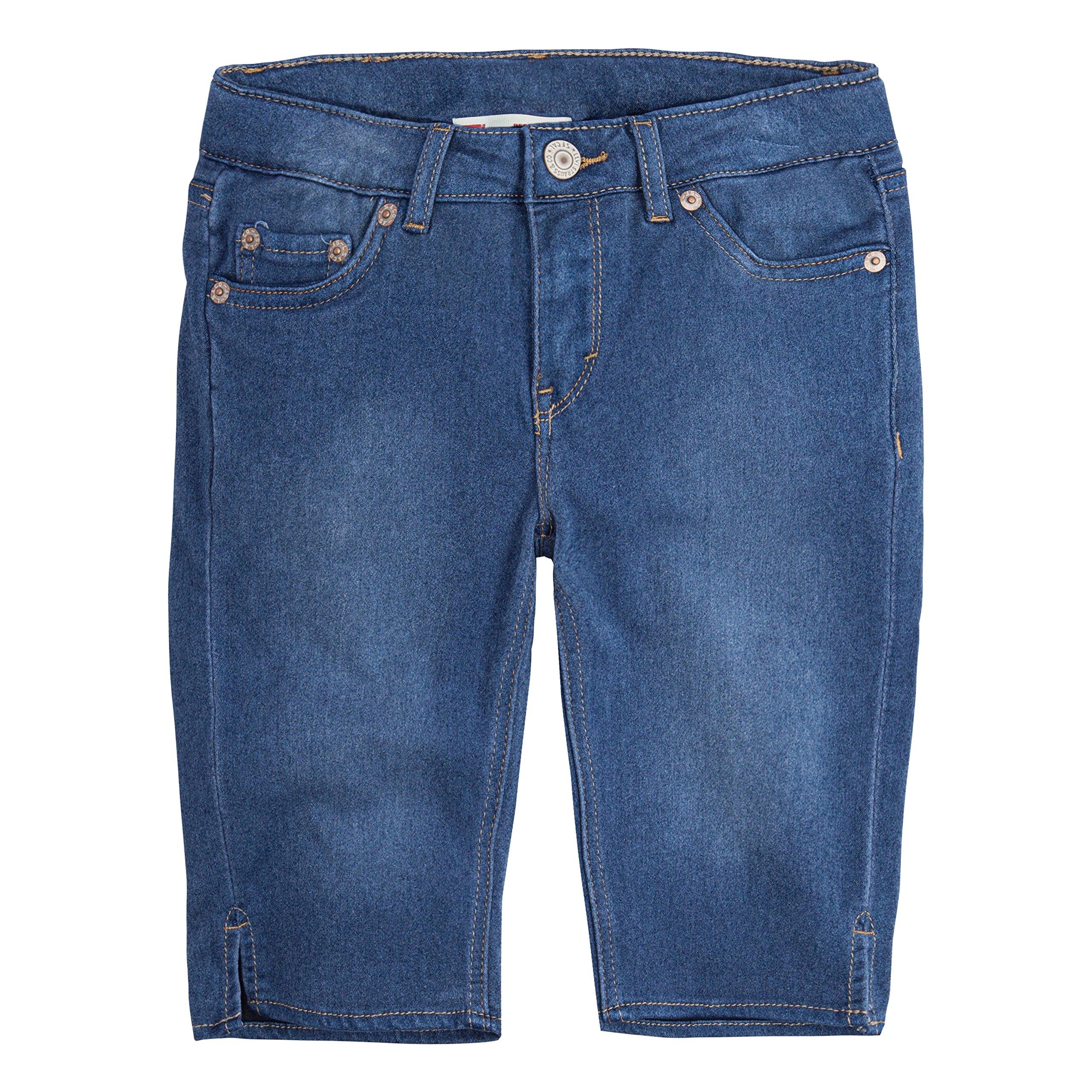 Levi's Girls' Big Super Soft Denim Bermuda Shorts, Medium Indigo, 10