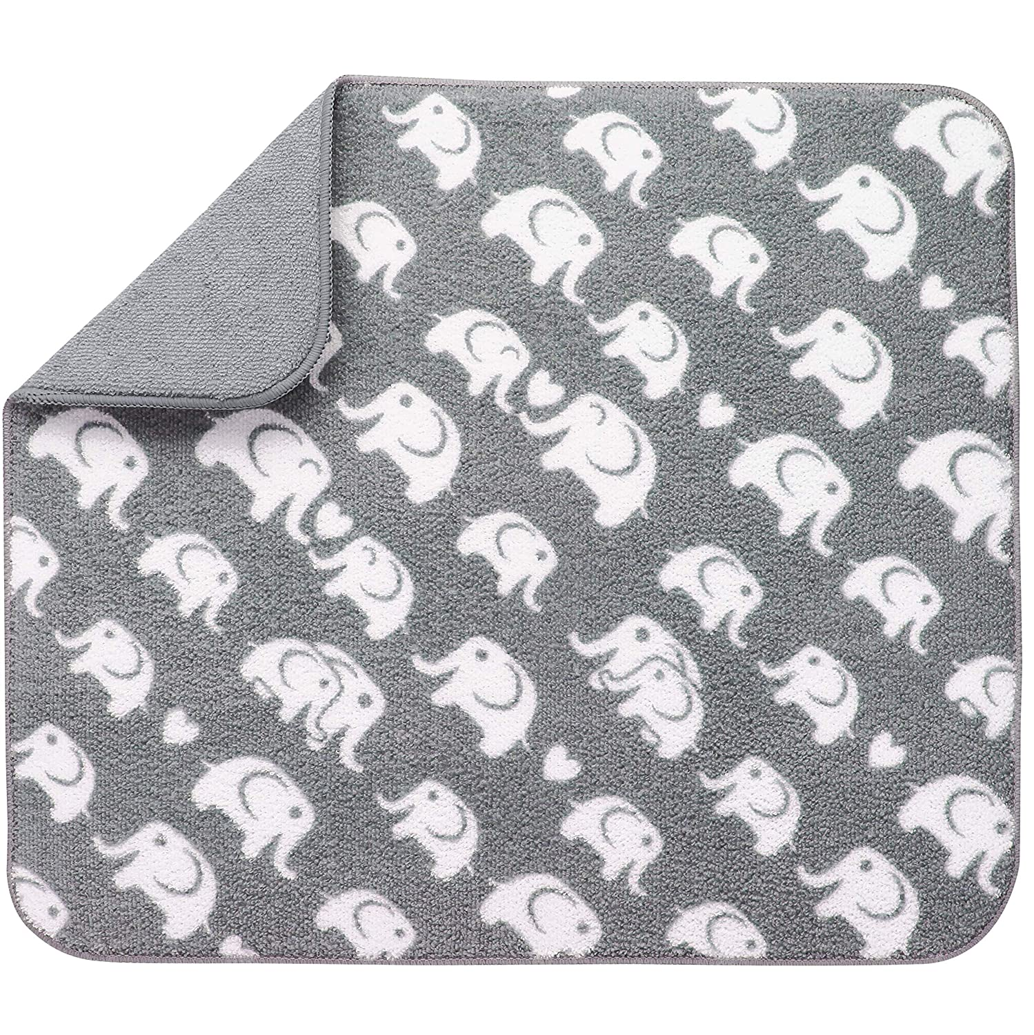 STS 524401 Reversible Baby Bottle Drying Mat - 16 Inch x 18 Inch, Grey Elephant Print