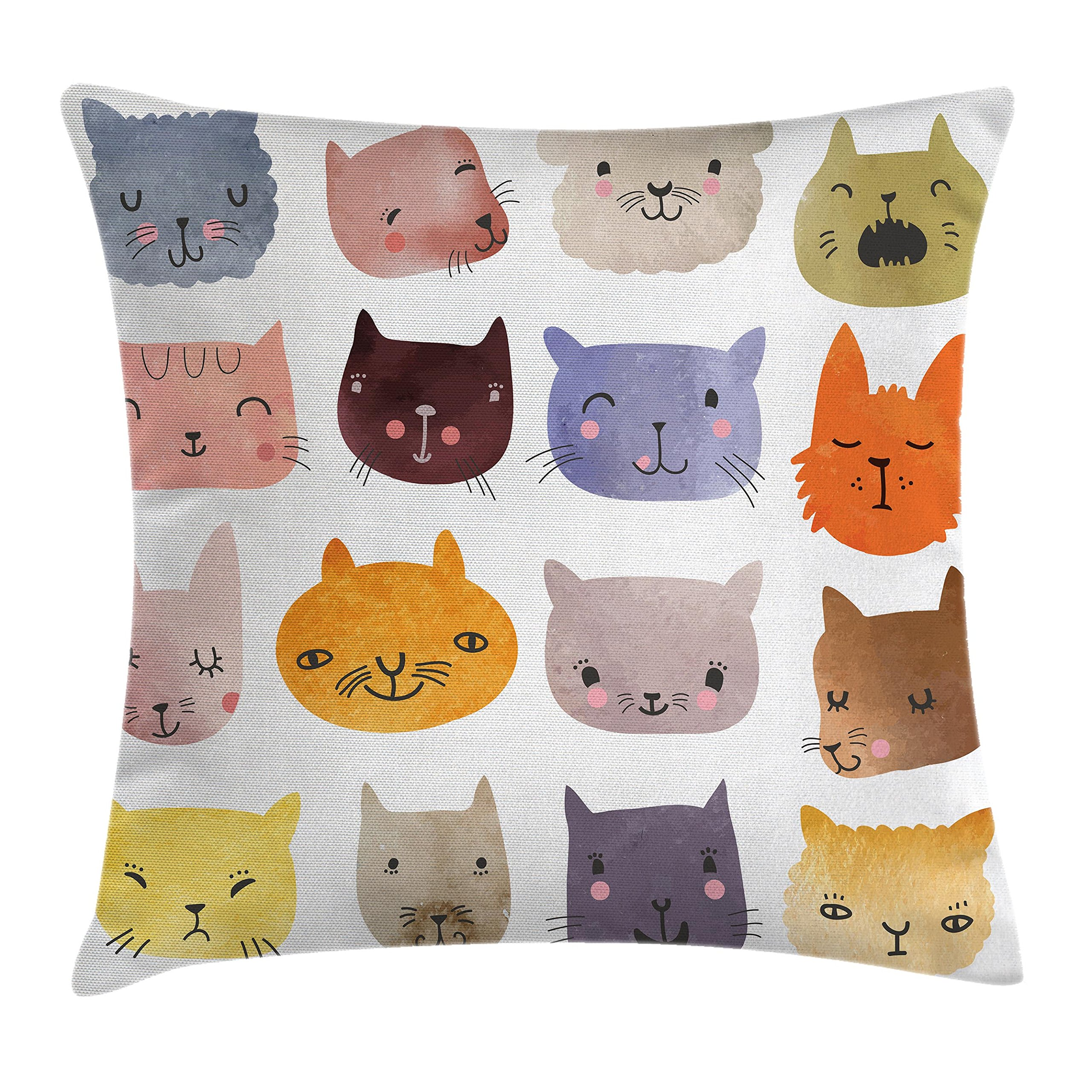 Ambesonne Cat Throw Pillow Cushion Cover, Cute Watercolor Effect Cat Heads in Colorful Humor Fun Purring Meow Animal Kids Artsy Print, Decorative Square Accent Pillow Case, 16 X 16 Inches, Multi by Ambesonne