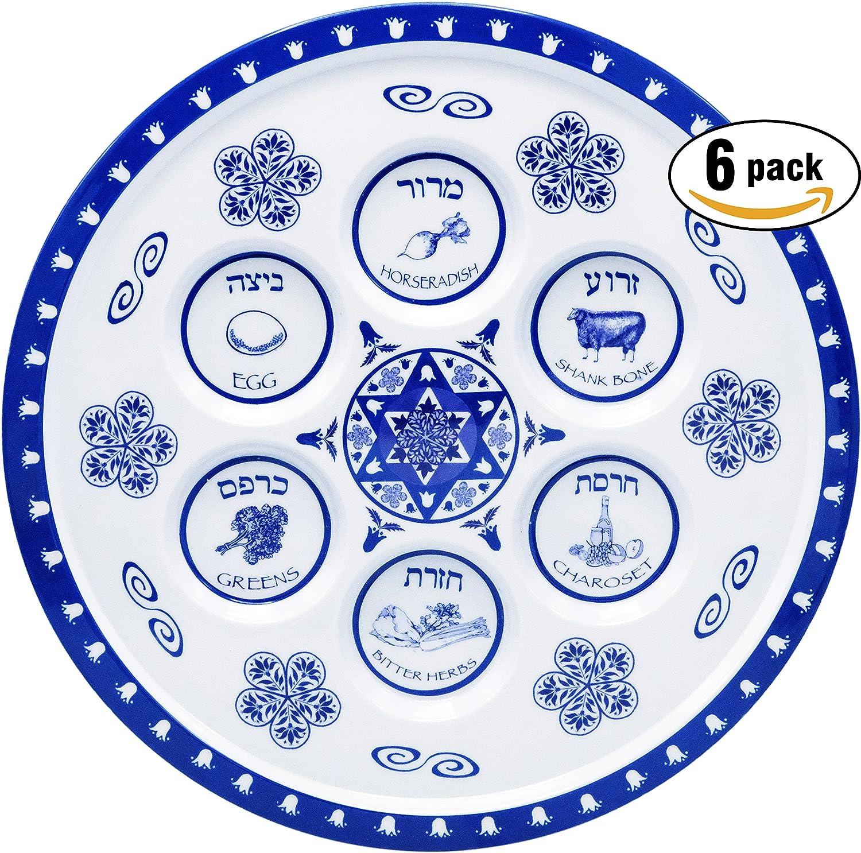 Seder Plate Passover Plate Melamine Renaissance Design Passover Seder Plates (6-Pack) The Dreidel Company