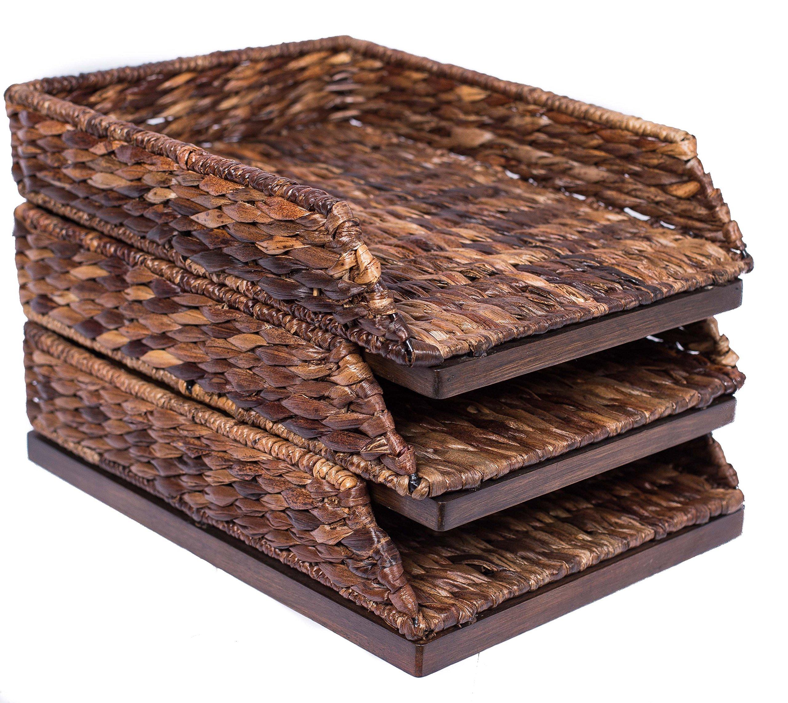 BirdRock Home Seagrass Paper Tray | Hand Woven | Set of 3 | Desk Organizer | Stackable Paper Holder | Dark Natural | Stylish Decorative Design | Filer