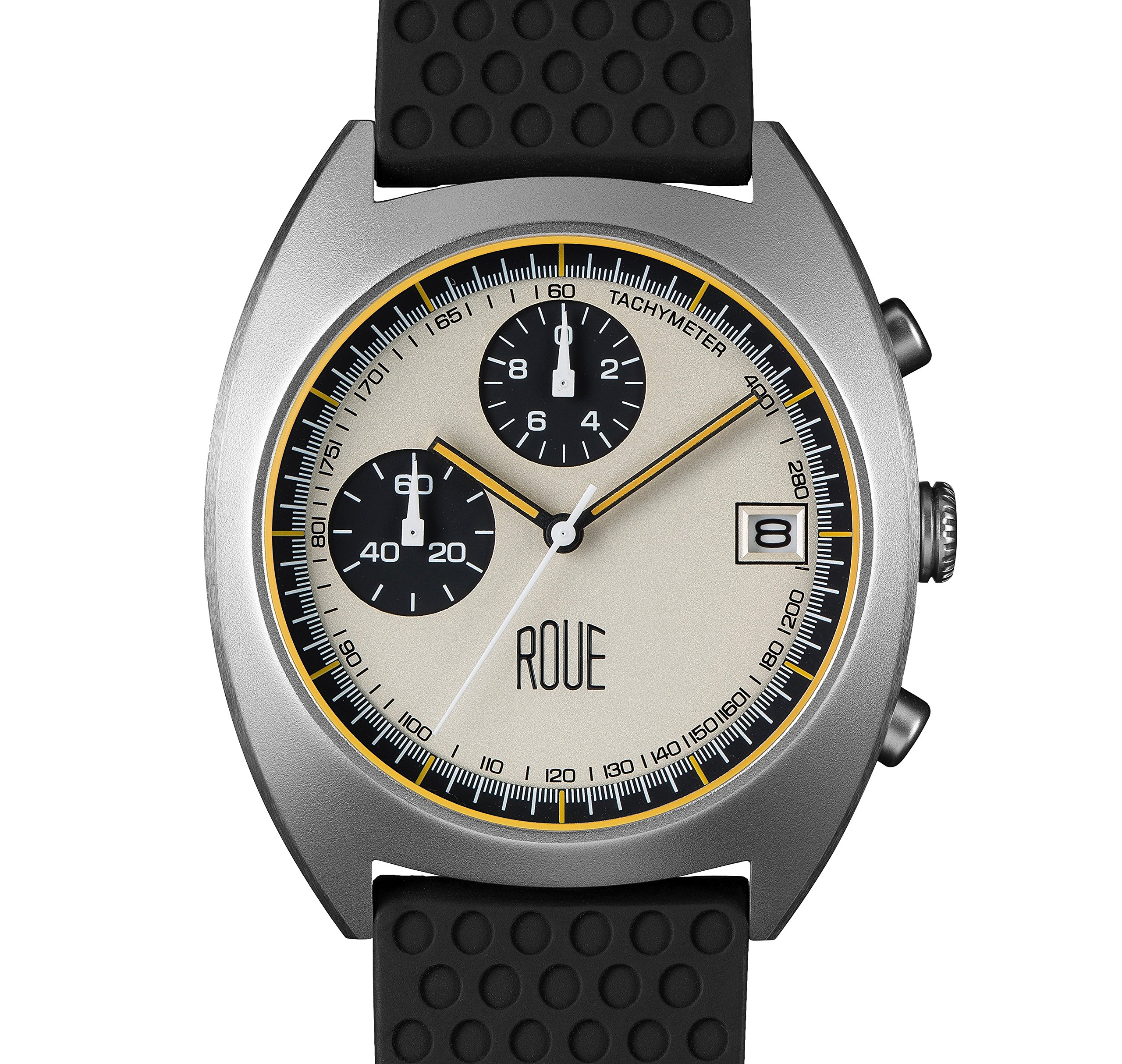 ROUE CHR Three Chronograph Watch, 1970s Racing Style, 41.5mm Sand Blasted Stainless Steel case, Silicone + Soft Leather Straps, Sapphire Crystal with anti-reflective treatment glass