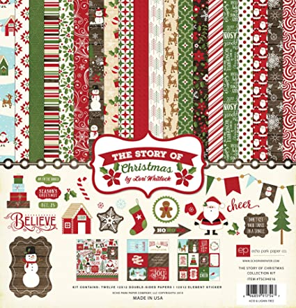 Christmas Scrapbook Paper.Echo Park Paper Company Tsc94016 The Story Of Christmas Collection Kit