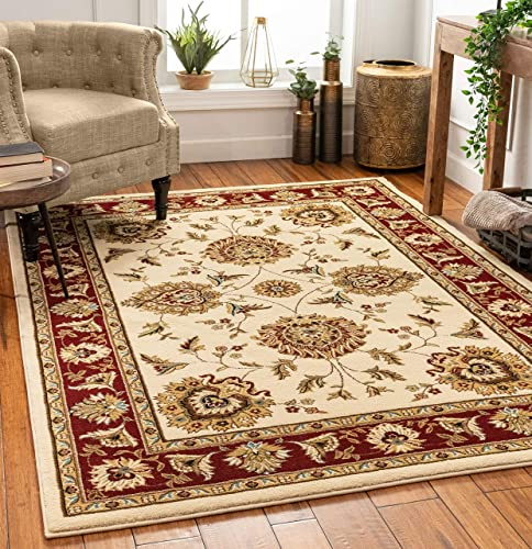 Sultan Sarouk Ivory Oriental Area Rug Persian Floral Formal Traditional Area Rug 7' x 9' Easy Clean Stain Fade Resistant Shed Free Modern Classic Contemporary Thick Soft Plush Living Dining Room Rug