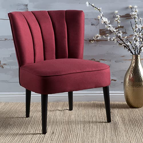 Christopher Knight Home Leafdale Plush Fabric Accent Chair Deep Red