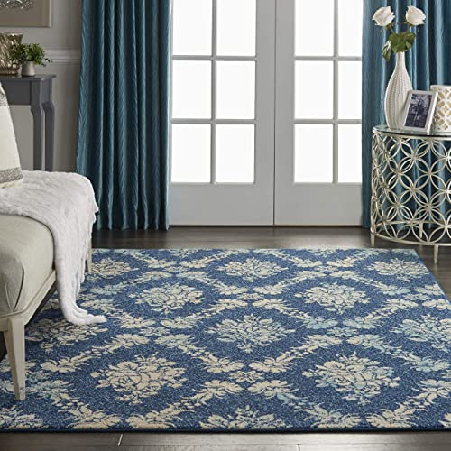 Nourison TRA09 Tranquil Vintage Damask Navy/Light Blue Area Rug 5'3″ X 7'3″