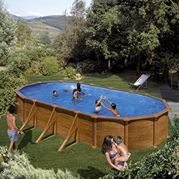 Gre KIT730W- Piscina Pacific desmontable ovalada de acero decoración madera 730x375x120 cm: Amazon.es: Jardín