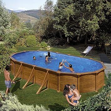 Gre KIT730W- Piscina Pacific desmontable ovalada de acero decoración madera 730x375x120 cm: Amazon.es: Jardín