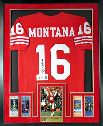 size 40 26c72 98bff SF 49ers Joe Montana Autographed Home Red Jersey (Deluxe ...
