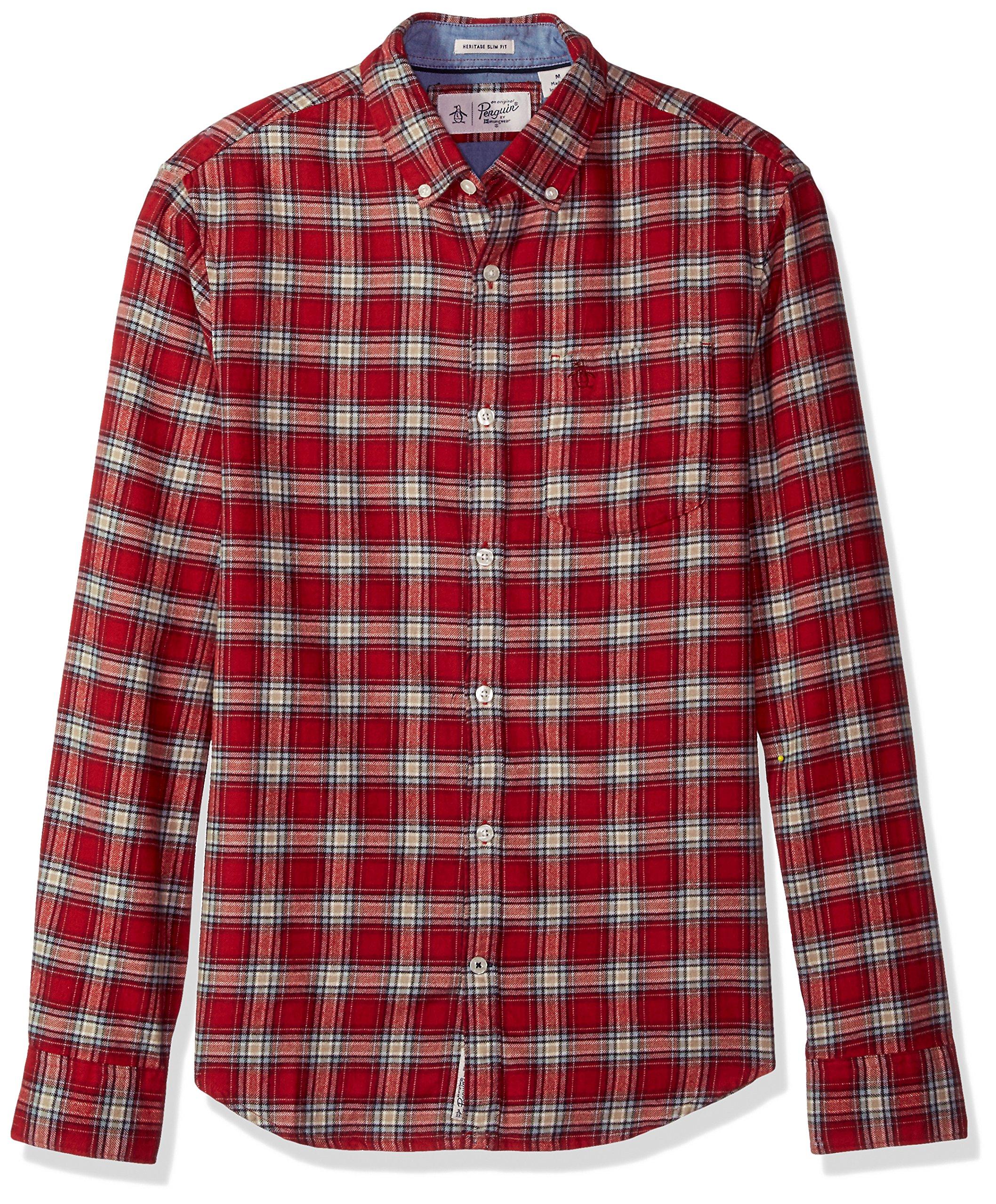 Original Penguin Men's Flannel Plaid Dress Shirt, Pomegranate, Medium
