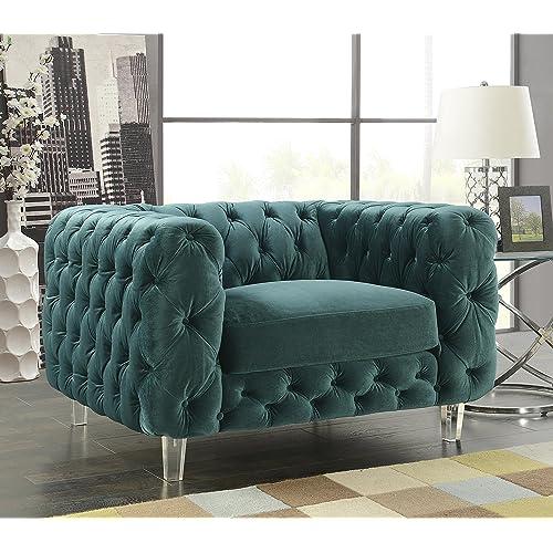 Iconic Home FCC2652-AN Modern Contemporary Tufted Velvet Down-Mix Cushions Acrylic Leg Club Chair, Green