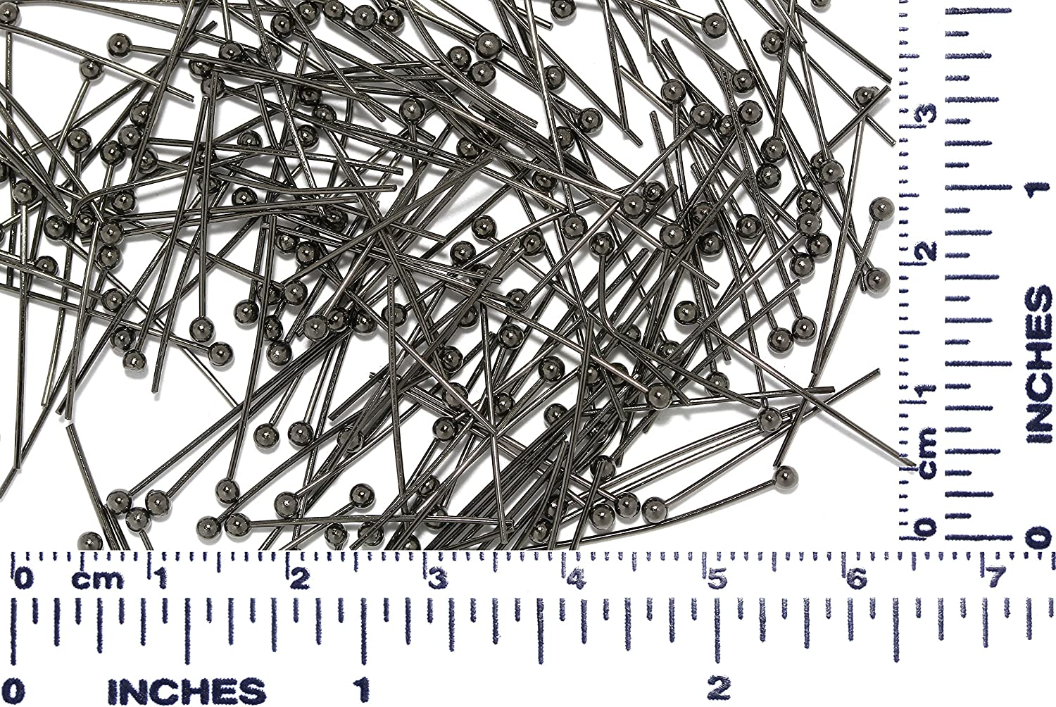 100pcs 20mm Bendable Jewelry Making Headpin Part Ball Point Gray Tone AnsonsImages