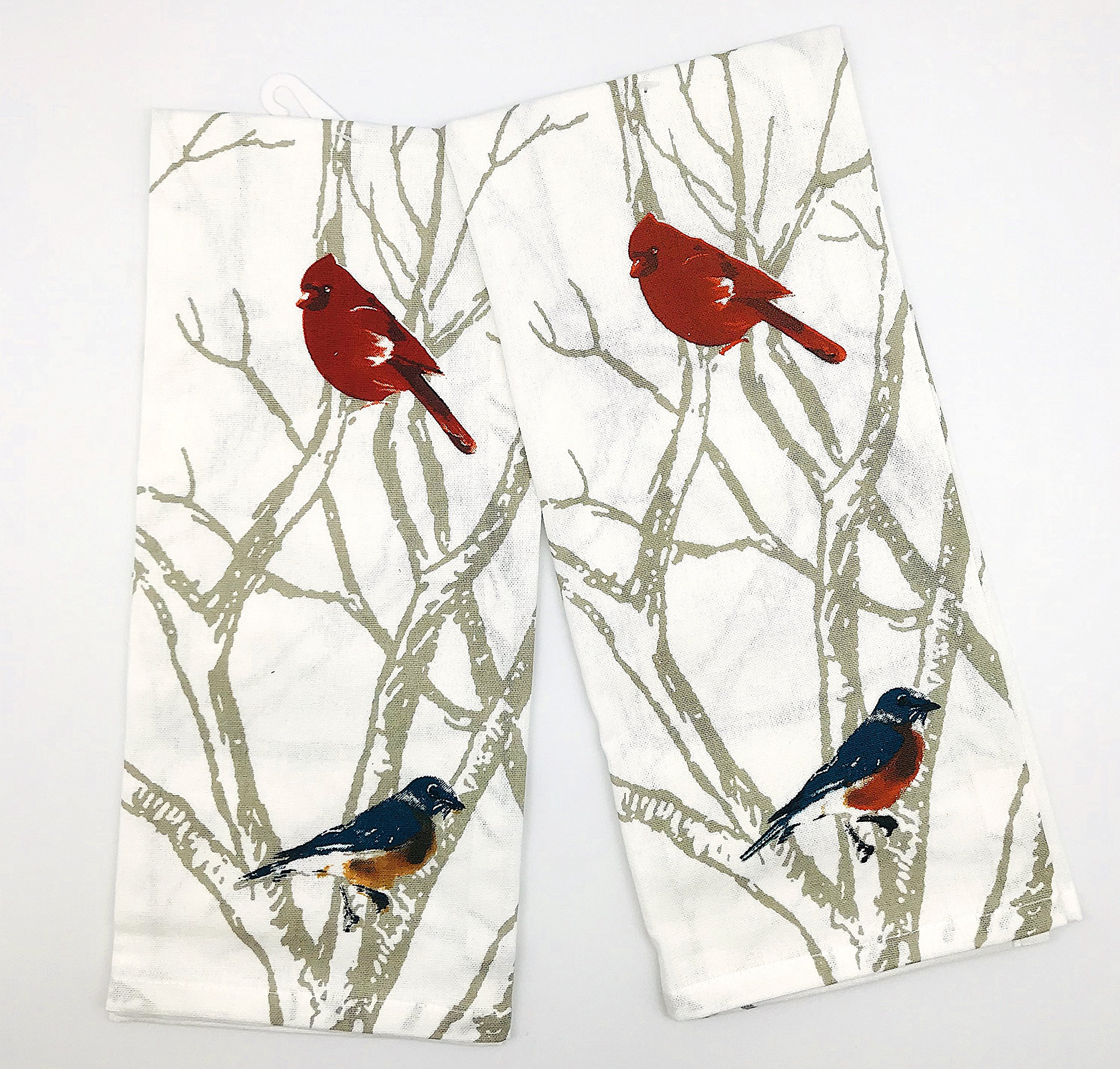 INDIA OVERSEAS Bird Watching Hand Towels: Colorful Artistic Wildlife Design, Set of 2