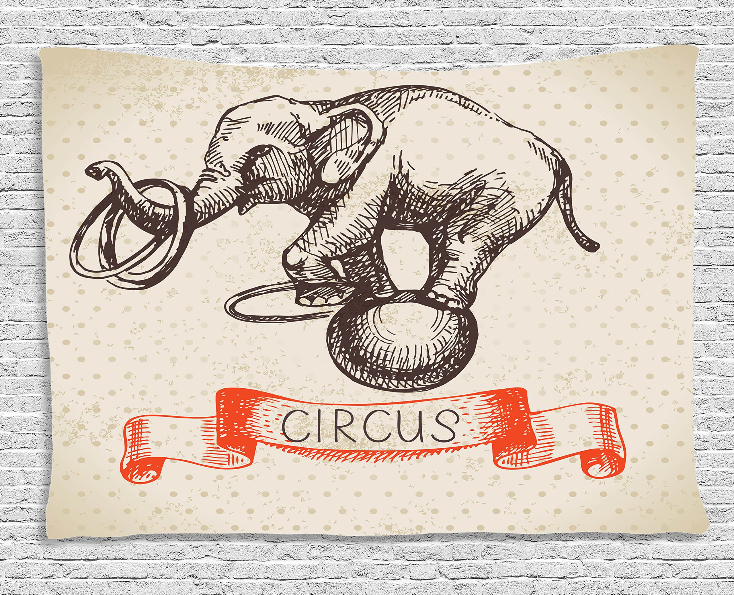 Ambesonne Vintage Decor Collection, Hand Drawn Dancing Elephant Circus Vintage Background Wizard Miracle Wonder Animal Humor, Bedroom Living Room Dorm Wall Hanging Tapestry, 80W X 60L Inch, Ecru Red
