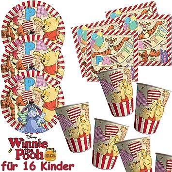 53 Juego De Set De Fiesta Winnie The Pooh Con 16 Platos 16