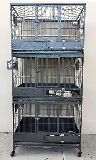 large triple stack wrought iron cage bird cockatiel sugar glider