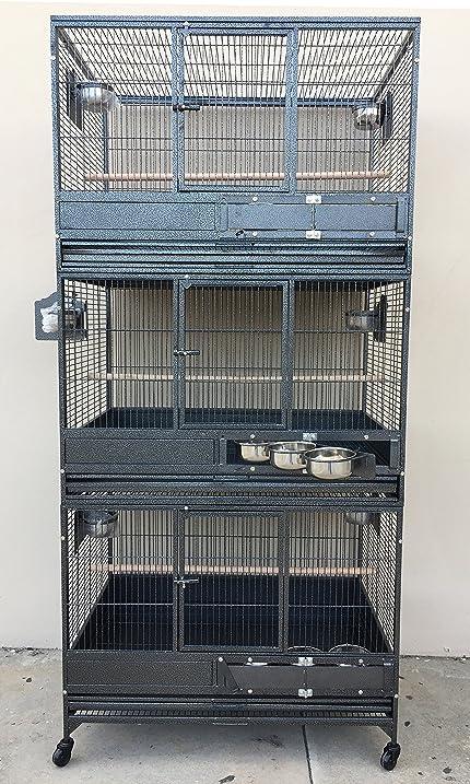 large triple stack wrought iron cage bird cockatiel sugar glider