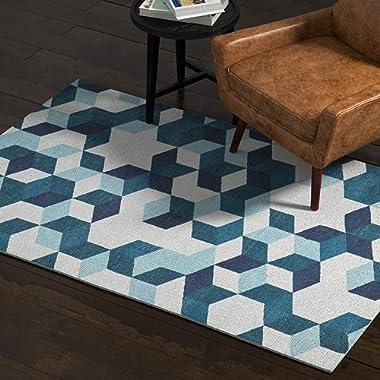 Rivet Modern Abstract Geometric Area Rug, 4 x 6 Foot, Blue
