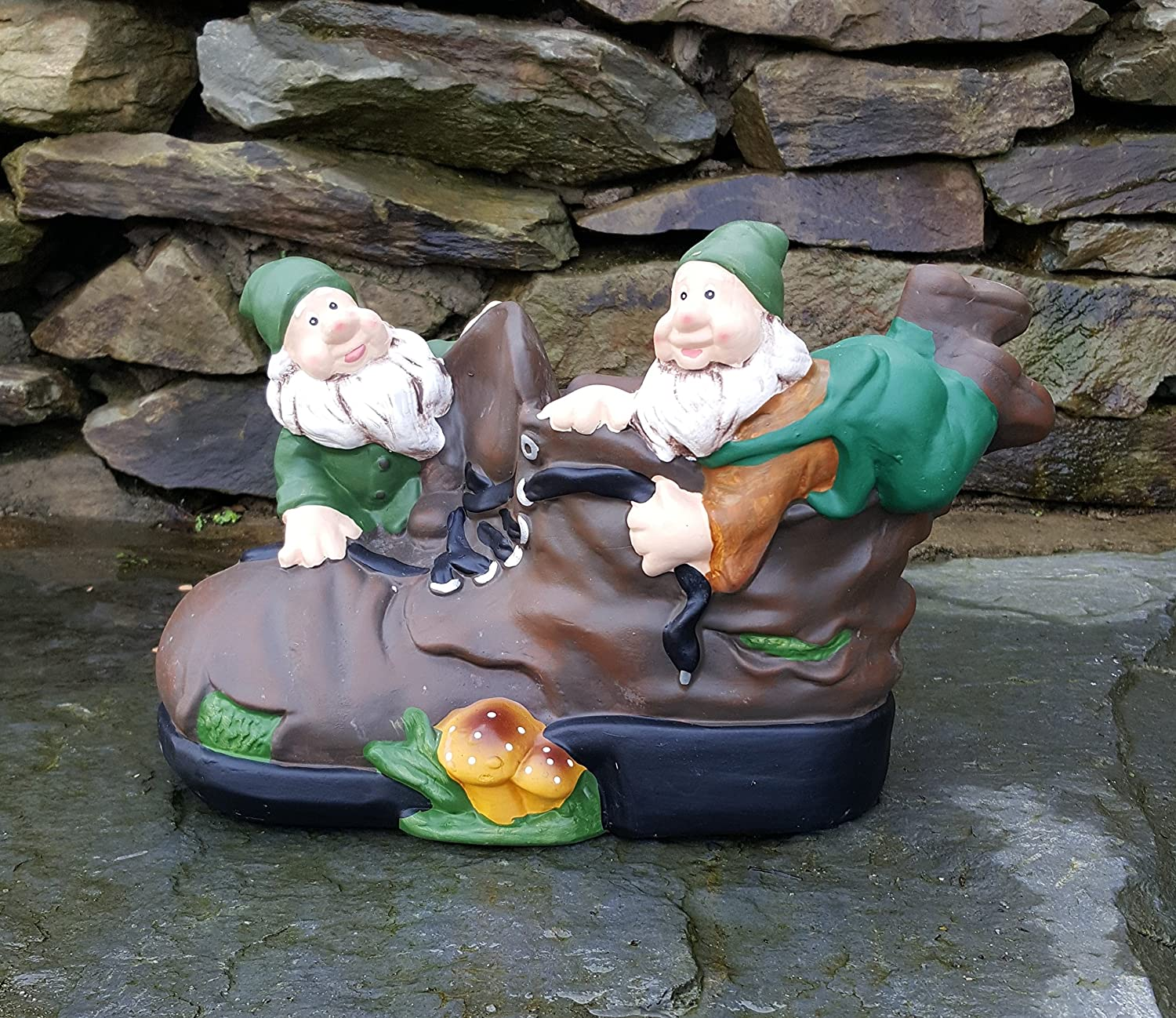 Ceramic Forest Gnome with boot, outdoor/Indoors, Garden Ornaments Hand Painted Home and Garden Products Ltd