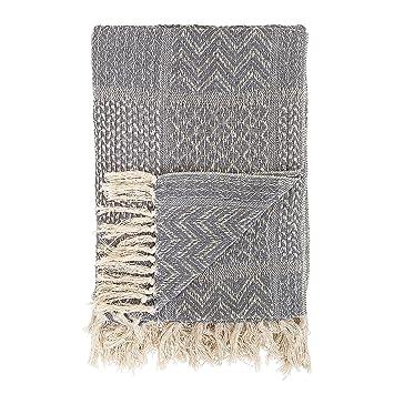 1e009be51793 Amazon.com  Bloomingville Grey Pattern Cotton Blend Throw 63