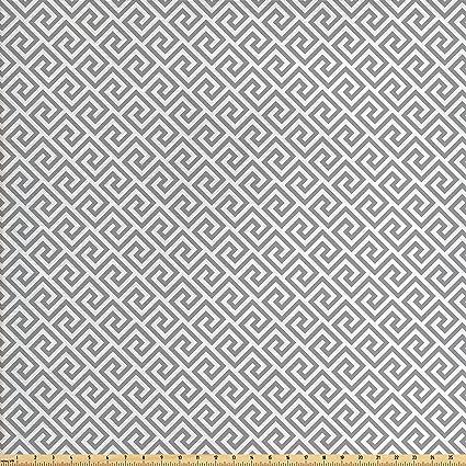 Amazon Com Ambesonne Greek Key Fabric By The Yard Geometric Lines