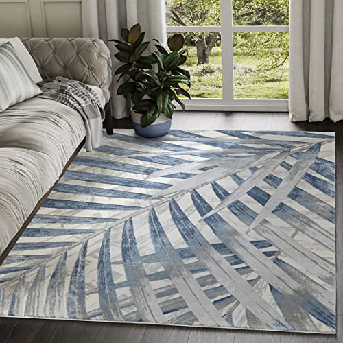 7'9″x10'2″ Blue Grey Beige Floral Palm Leaf Pattern Area Rug