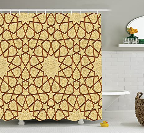Amazon.com: Antique Shower Curtain by Ambesonne, Arabesque Star ...
