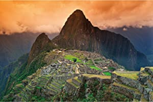 Poster – Machu Picchu – Picture Decoration South America Peru Historical Cultural Sites Inca City Ruins Unesco World Heritage Image Photo Decor Wall Mural (55x39.4in - 140x100cm)