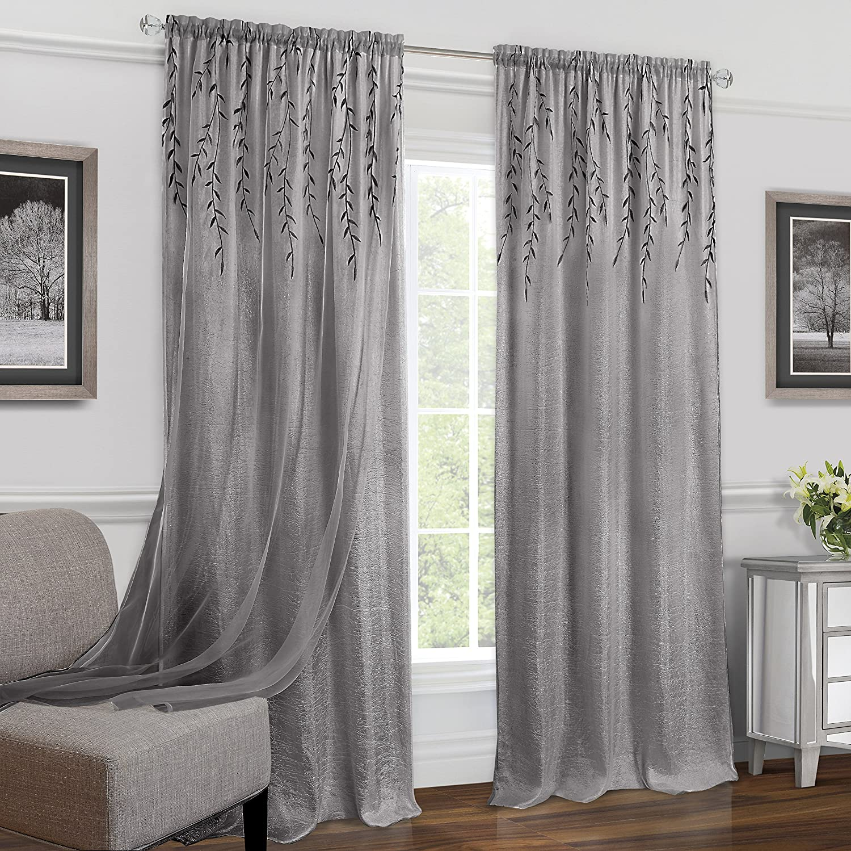 "Achim Home Furnishings Willow Rod Pocket Window Curtain (Single Panel), 42"" x 84"", Grey"