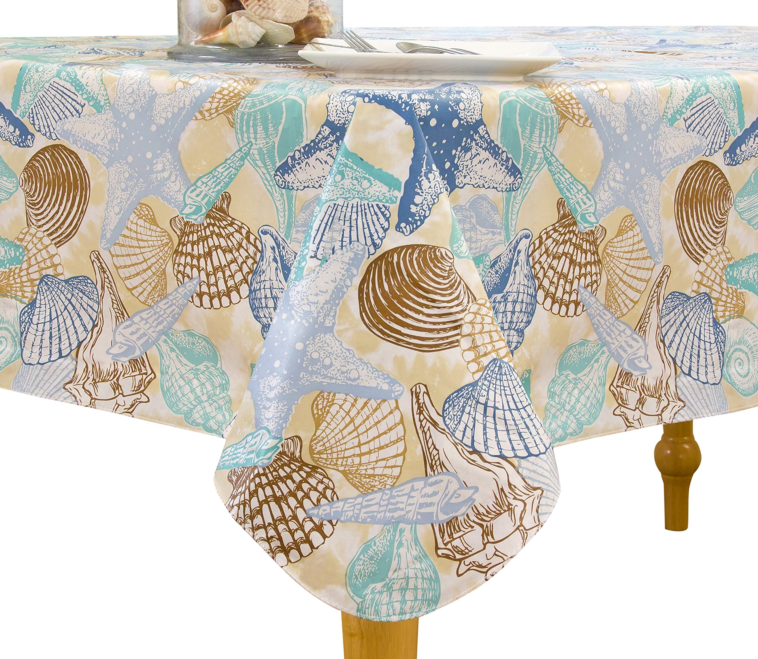 "Elrene Home Fashions Vinyl Tablecloth with Polyester Flannel Backing Shell Beach Easy Care Spillproof, 52""x52"", Sand Brown Blue - Includes one (1) Flannel backed vinyl tablecloth See Size chart for selecting best fit for your table 52 inch x 52 inch square - tablecloths, kitchen-dining-room-table-linens, kitchen-dining-room - A1Q9GOModcL -"