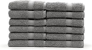 Linum Home Textiles 100% Turkish Cotton Sinemis Terry Bath Towel (Set of 12), Dark Grey