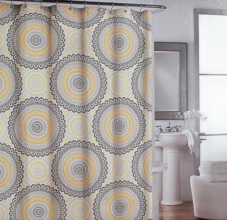 Shower Curtain Fabric Designer Cynthia Rowley 72u0026quot; X 72u0026quot; Large  Circle Medallions Yellow Black