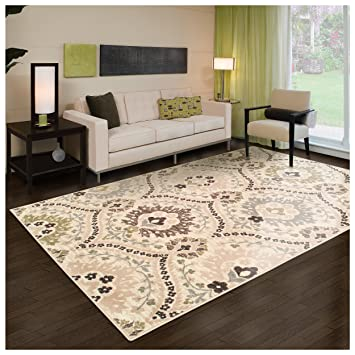 Superior Designer Augusta Collection Area Rug, 8mm Pile Height With Jute  Backing, Beautiful Floral