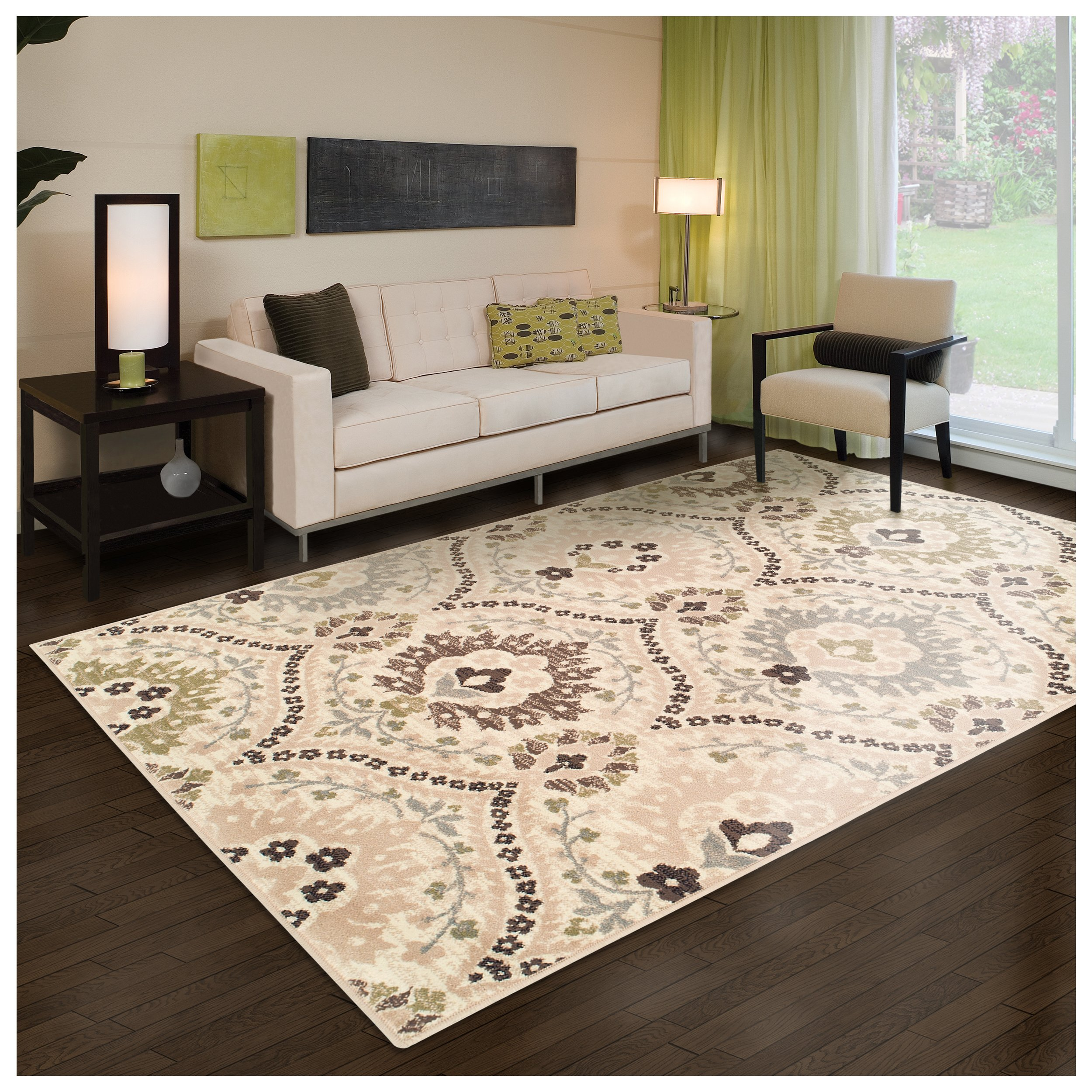 Superior Designer Augusta Collection Area Rug, 8mm Pile Height with Jute Backing, Beautiful Floral Scalloped Pattern, Anti-Static, Water-Repellent Rugs - Beige, 8' x 10' Rug by Superior