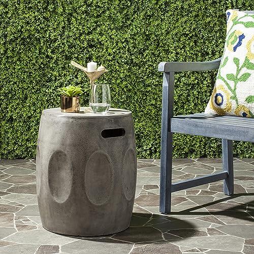 Safavieh Outdoor Collection Zuri Modern Concrete Dark Grey Round 17.7-inch Accent Table