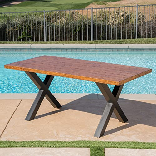 Christopher Knight Home Cytheria Outdoor Brown Walnut Finish Light Weight Concrete Dining Table, Black