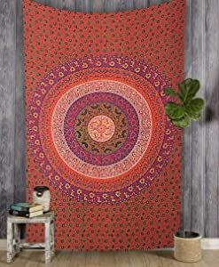 Marubhumi Hippy Mandala Bohemian Tapestries, Indian Dorm Decor, Psychedelic Tapestry Wall Hanging Ethnic Decorative Tapestry, Multi Red, 85 x 55 Inches