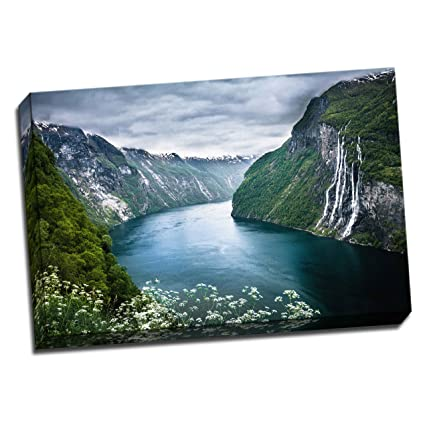 Beautiful Mountains Norway  Panoramic Picture Canvas Print Home Decor Wall Art