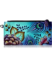 Anuschka Anna By Handpainted Leather Organizer Wallet, Peacock Garden Credit Card
