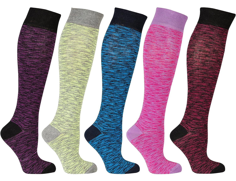 socks n socks-Calzini da Donna al Ginocchio a 5 Paia di Cotone Lusso Divertimento Elegante Fantasia Colorato Vestito Regalo Scatola