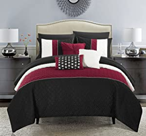 Chic Home Osnat 10 Piece Comforter Set Color Block Quilted Embroidered Design Bed in a Bag Bedding – Sheets Decorative Pillows Shams Included Queen Black