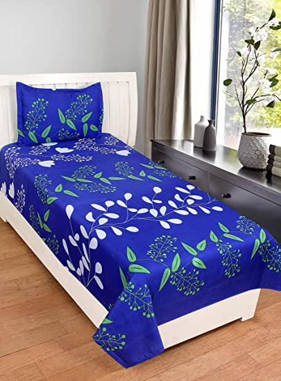 BSB Trendz 3D Printed Polycotton Single Bedsheet with 1 Pillow Cover(Blue, 228x152x228cm)