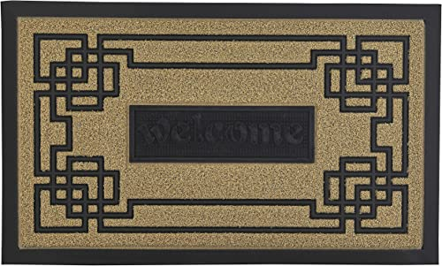 Superio Natural Greek Key Coir Welcome Doormat 18×30 – Indoor Outdoor Home Entry Door Mat, Durable Rubber Mat Rubber Bottom, Home, Garage, Office, Patio