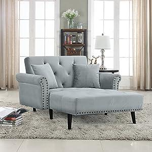 Divano Roma Furniture Modern Velvet Fabric Recliner Sleeper Chaise Lounge - Futon Sleeper Single Seater with Nailhead Trim (Light Grey)