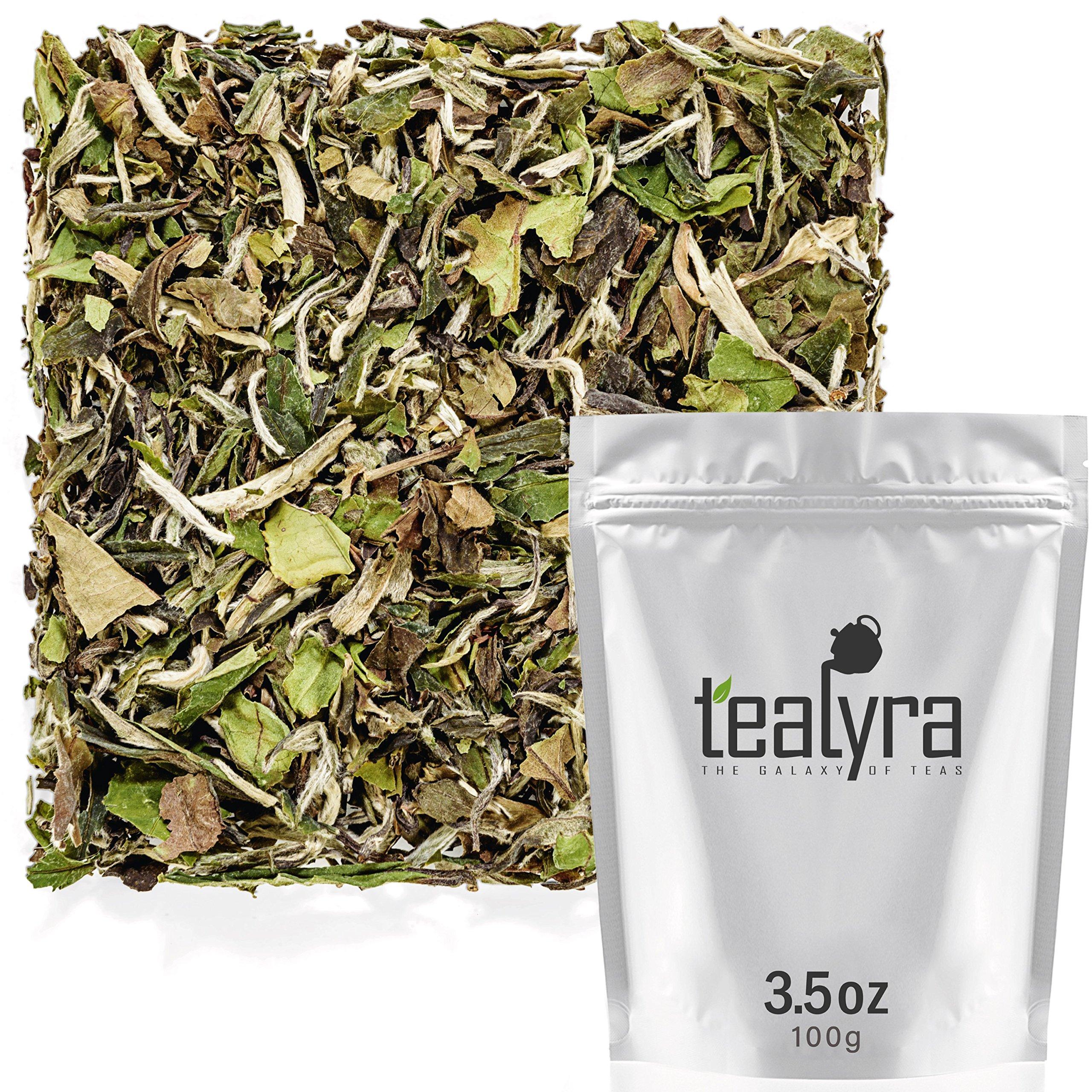 Tealyra - Imperial Grade White Peony - Bai Mu Tan - Fresh White Loose Leaf Tea - Organically Grown - Low Caffeine - High in Antioxidants - 100g (3.5-ounce) by Tealyra