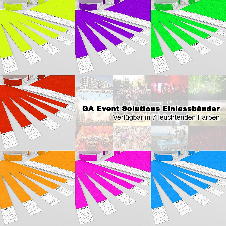 500 Eintrittsb/änder aus Tyvek zum selbst gestalten und bedrucken in Orange von GA Event Solutions Party Einlassb/änder Festival Armb/änder f/ür dein Event