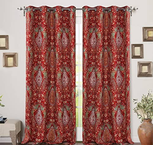 DriftAway Christopher Peacock Floral Pattern Energy Saving Thermal Insulated Blackout Window Curtain Grommet 2 Layers 2 Panels 52 Inch by 84 Inch Red