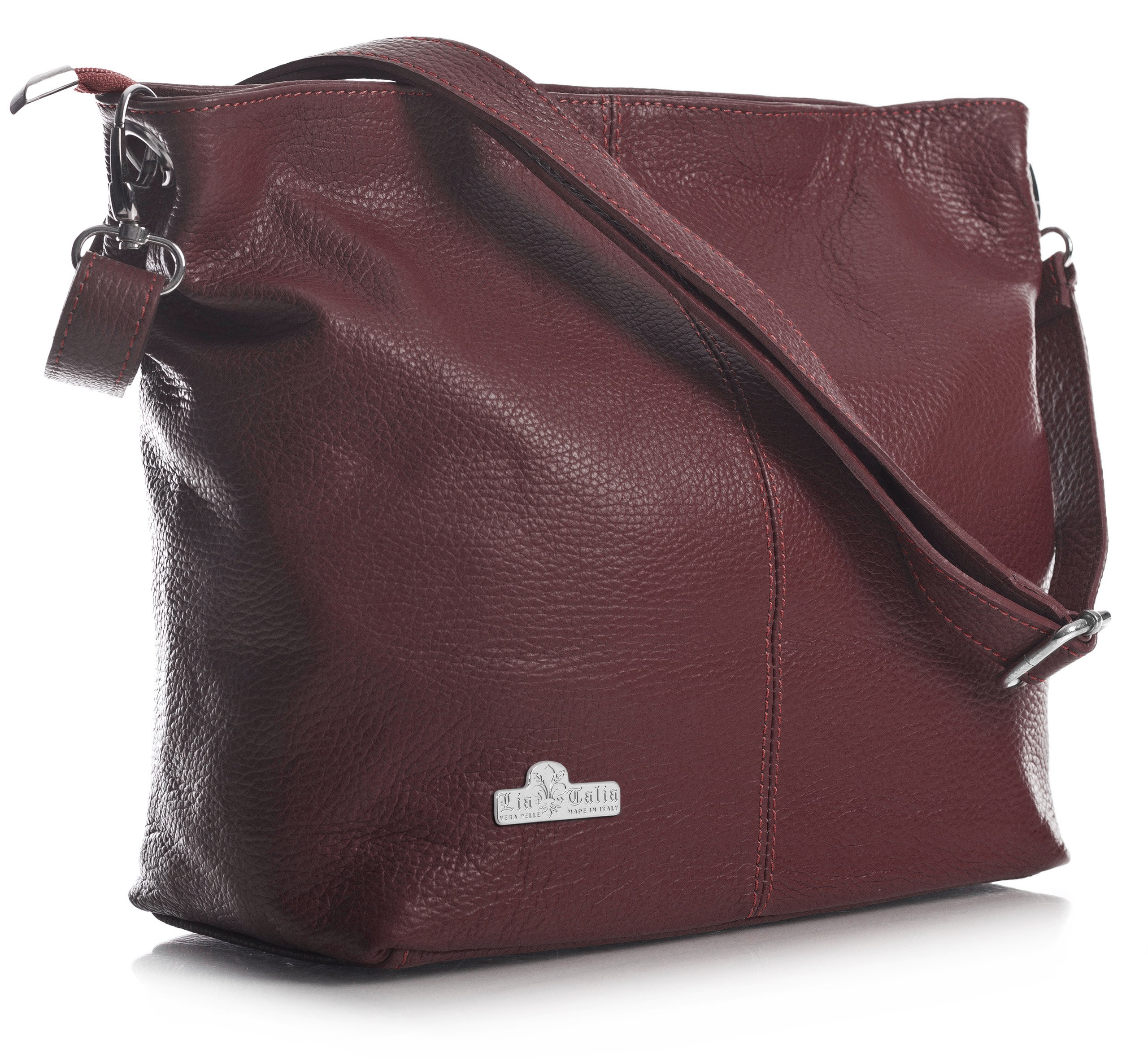 LiaTalia Womens Genuine Italian Leather Medium Hobo Shoulder Bag with Protective Storage Bag - Adal [Deep Red] by LiaTalia (Image #1)