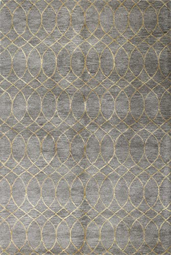 DecorShore Aroa Cupola Collection, Contemporary Area Rug, Hand Tufted, 100 Wool, Handmade Moroccan Trellis Design, Thick Plush Pile, Silver, 7 6 x9 6